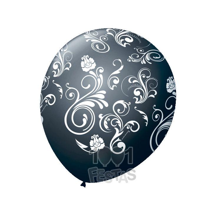 Balão Preto Arabesco Branco N09 25 unid São Roque