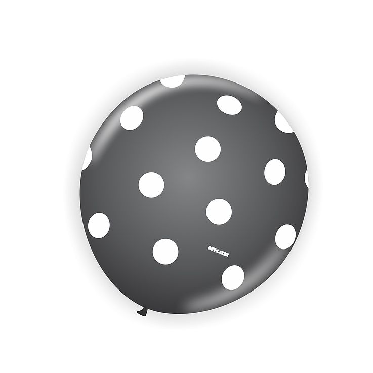 Balão Preto Bolinha Branca  N11 25 unid Art Latex