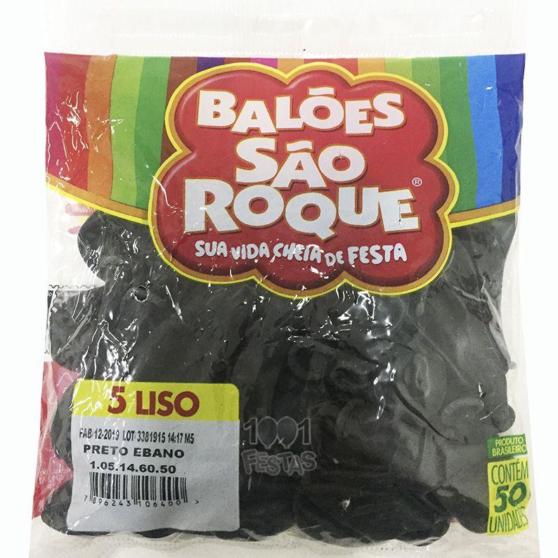 Balão Preto Ébano N05 50 unid São Roque