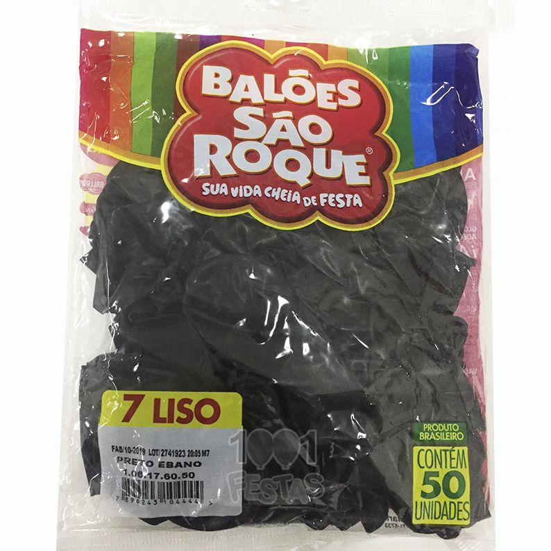 Balão Preto Ébano N07 50 unid São Roque