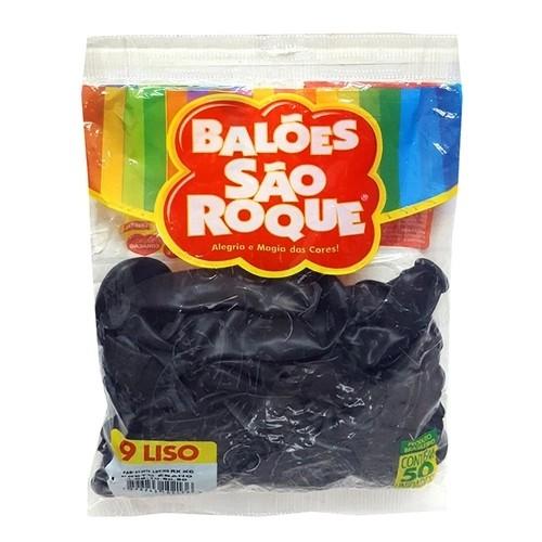 Balão Preto Ébano N09 50 unid São Roque