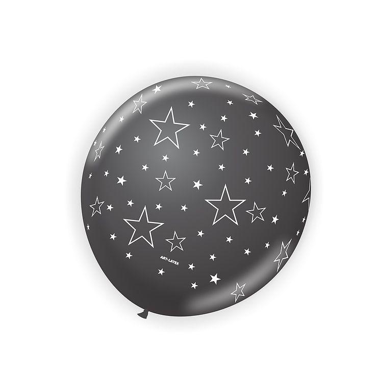Balão Preto Estrela Branca N11 25 unid Art Latex