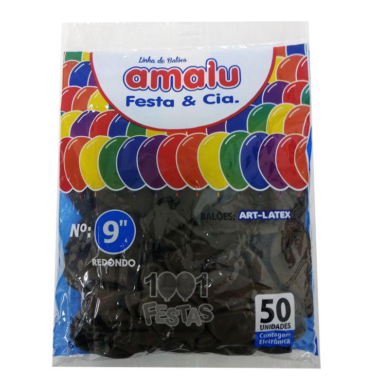 Balão Preto N09 50 unid Amalu