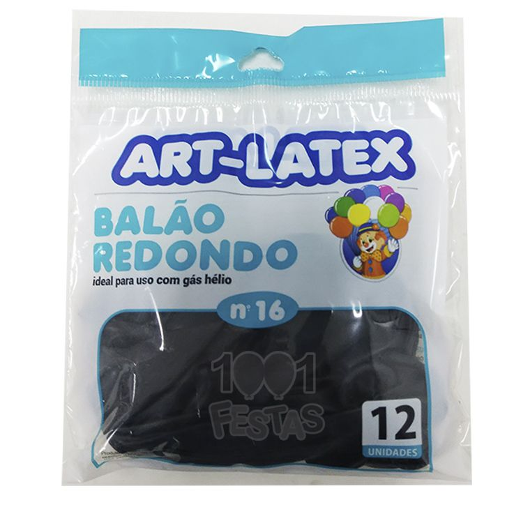 Balão Preto N16 12 unid Art Latex