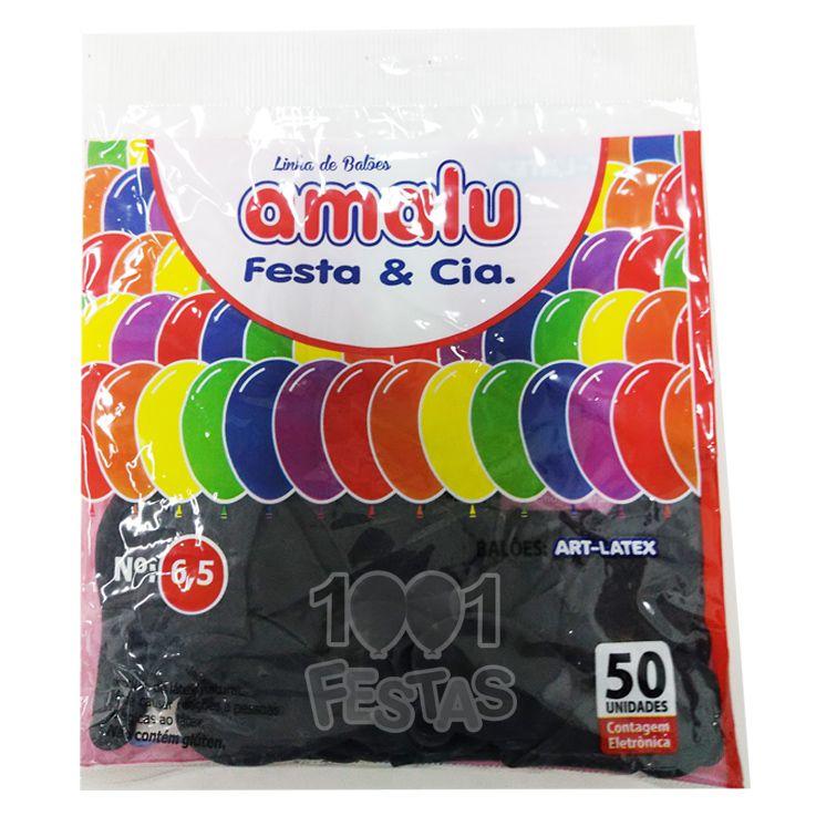 Balão Preto N6,5 50 unid Amalu