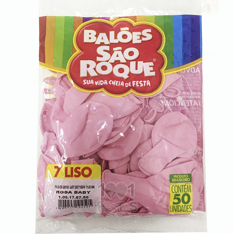 Balão Rosa Baby N07 50 unid São Roque