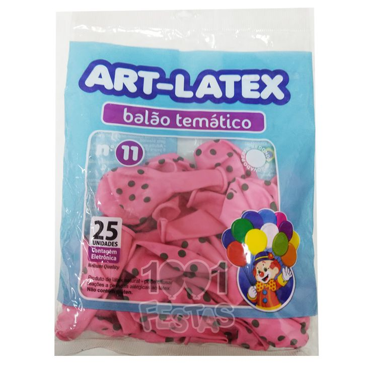 Balão Rosa Bolinha Marrom N11 25 unid Art Latex