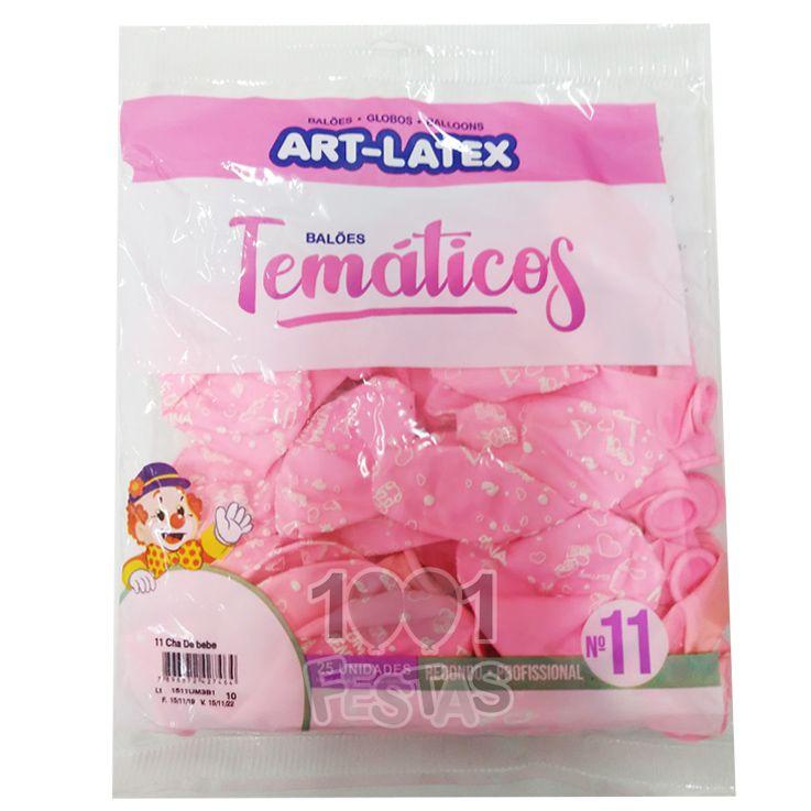 Balão Rosa Chá de Bebê N11 25 unid Art Latex
