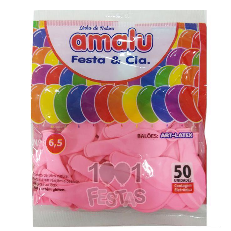 Balão Rosa Claro N6,5 50 unid Amalu