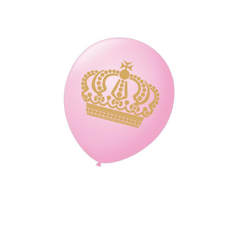 Balão Rosa Coroa N9 25 unid São Roque