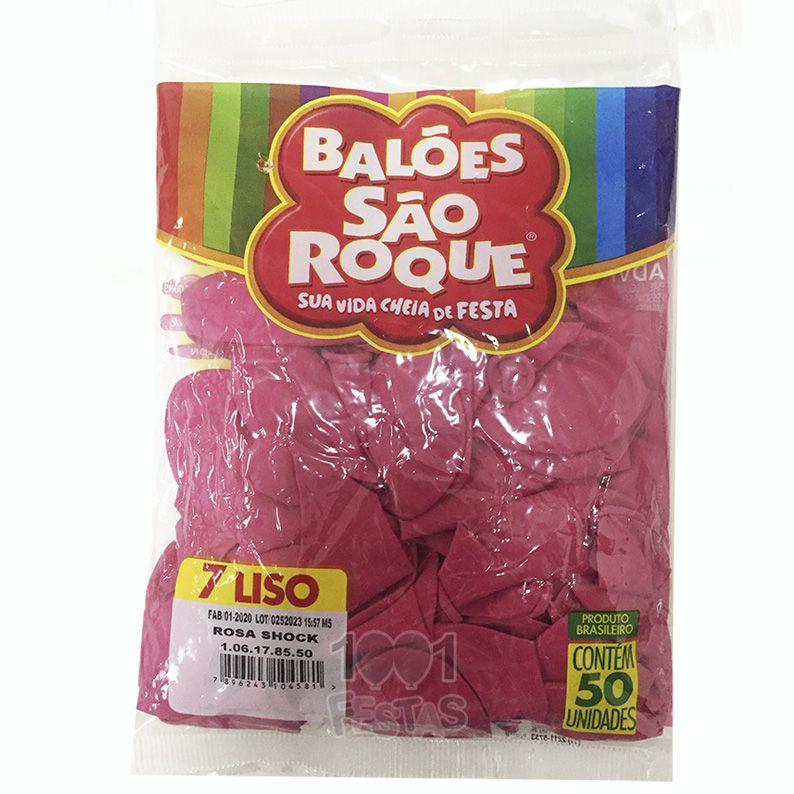 Balão Rosa Shock N07 50 unid São Roque