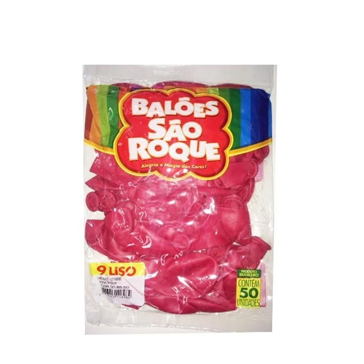 Balão Rosa Shock N09 50 unid São Roque