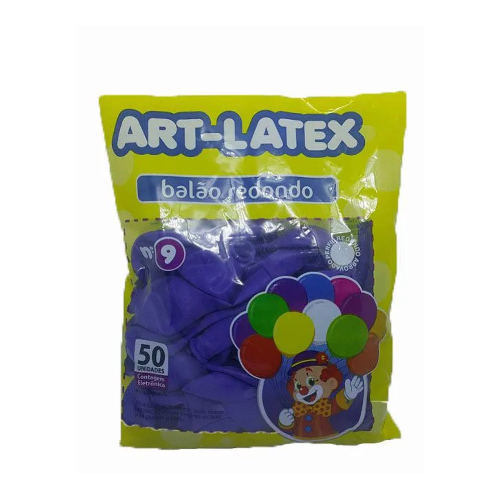 Balão Roxo N09 50 unid Art Latex