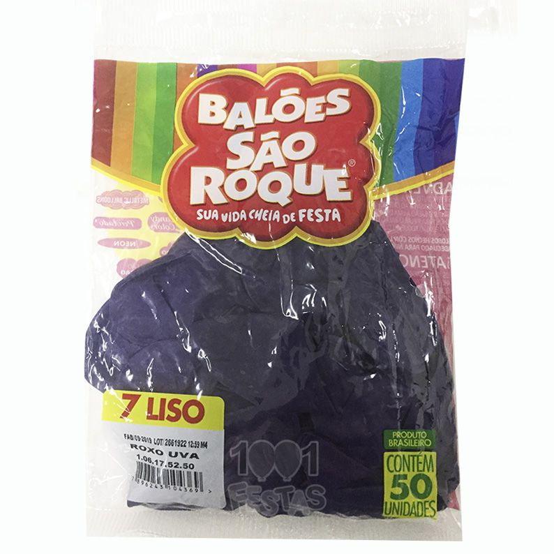 Balão Roxo Uva N07 50 unid São Roque