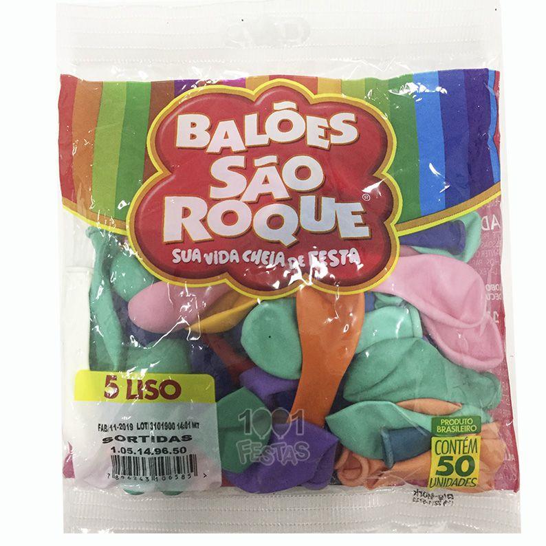 Balão Sortido N05 50 unid São Roque
