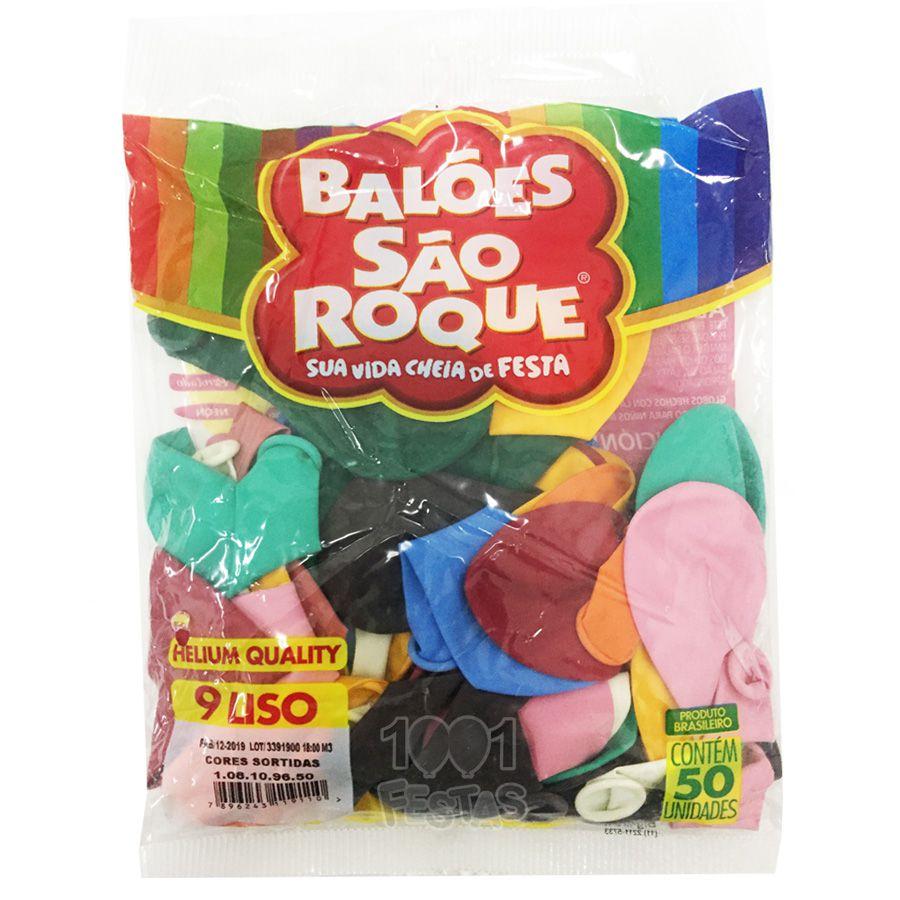 Balão Sortido N09 50 unid São Roque