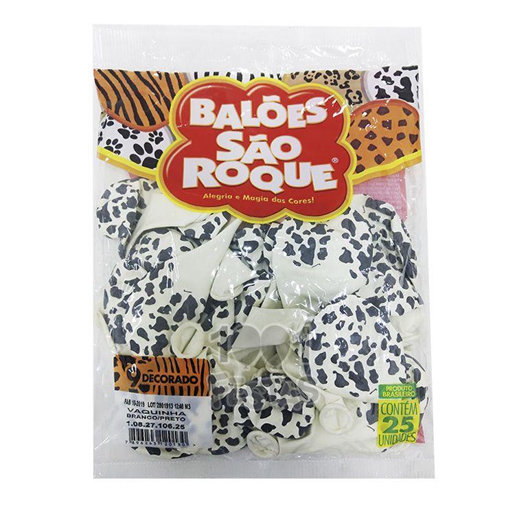 Balão Vaquinha Branco e Preto N09 25 unid São Roque