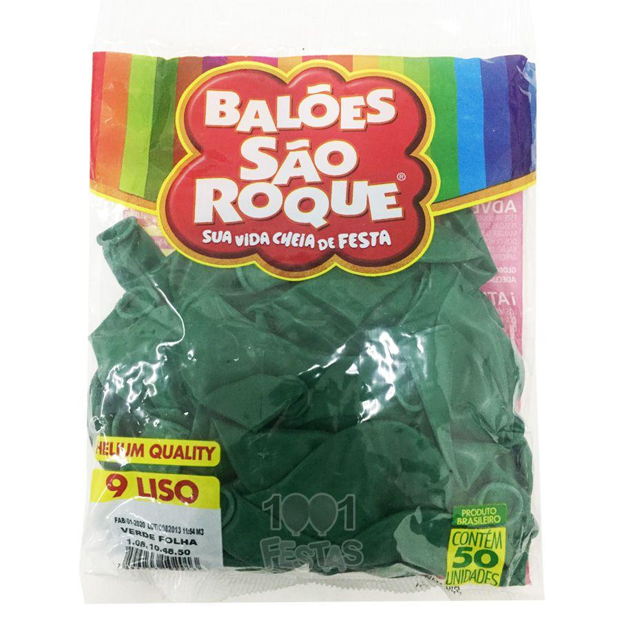 Balão Verde Folha N09 50 unid São Roque