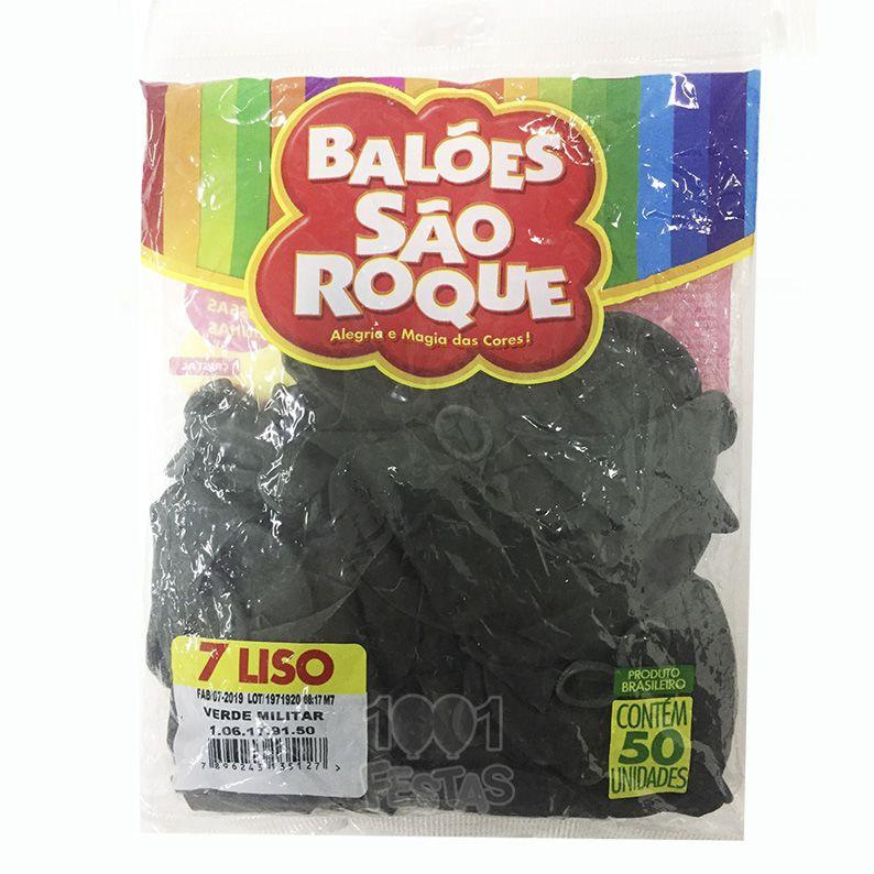 Balão Verde Militar N07 50 unid. São Roque