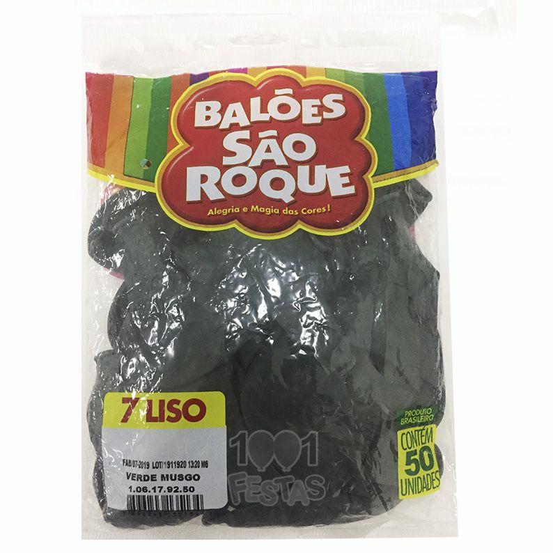 Balão Verde Musgo N07 50 unid. São Roque