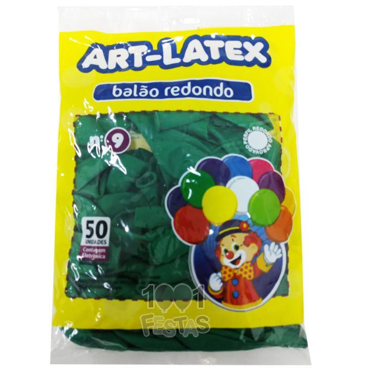Balão Verde N09 50 unid Art Latex
