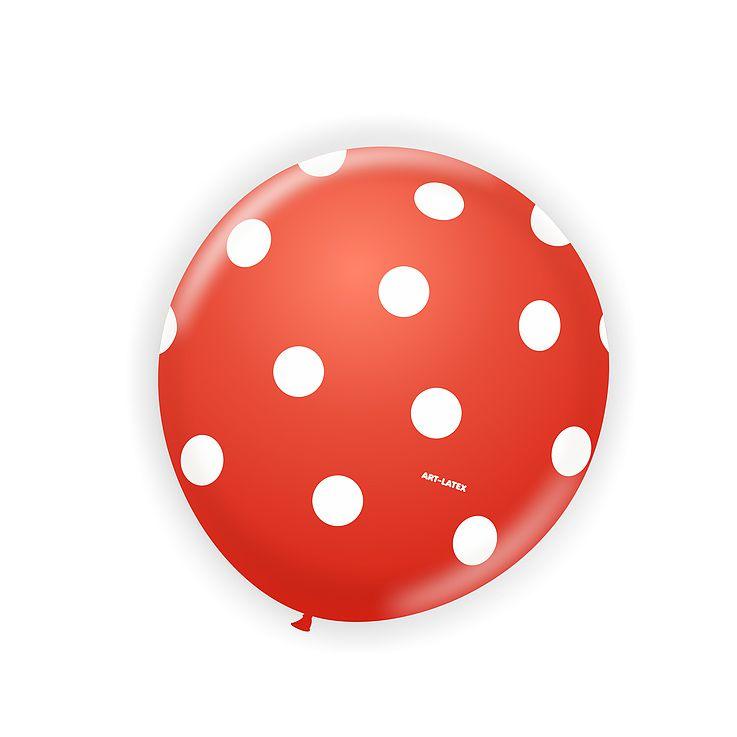 Balão Vermelho Bolinha Branco N11 25 unid Art Latex