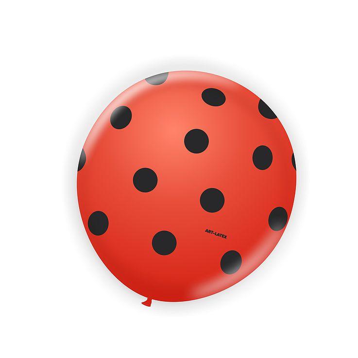 Balão Vermelho Bolinha Preta N11 25 unid Art Latex