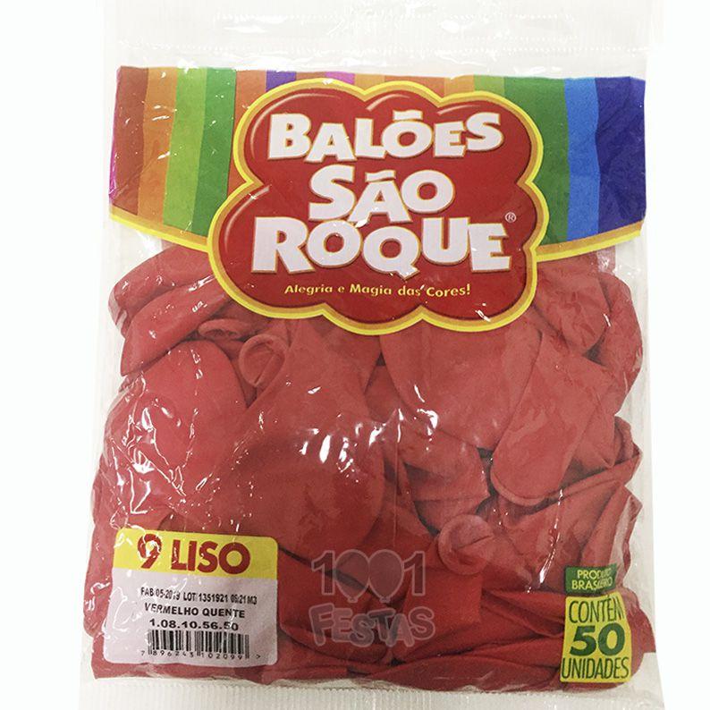 Balão Vermelho Quente N09 50 unid São Roque