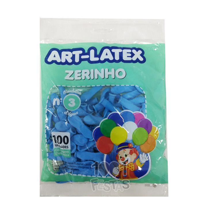 Balão Zerinho Azul Claro N03 100 unid Art Latex