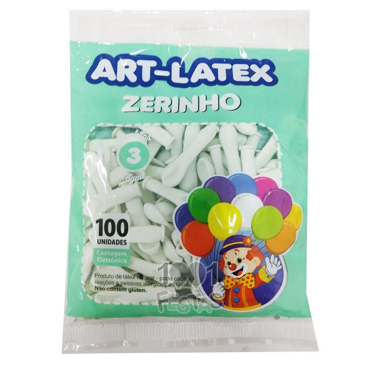 Balão Zerinho Branco N03 100 unid Art Latex