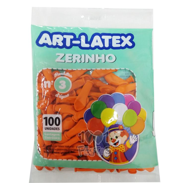 Balão Zerinho Laranja N03 100 unid Art Latex