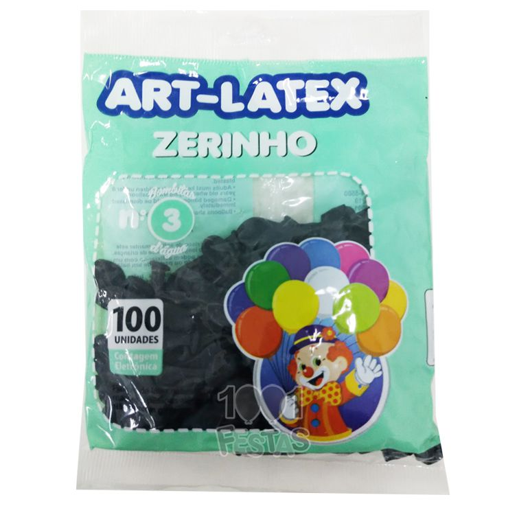 Balão Zerinho Preto N03 100 unid Art Latex