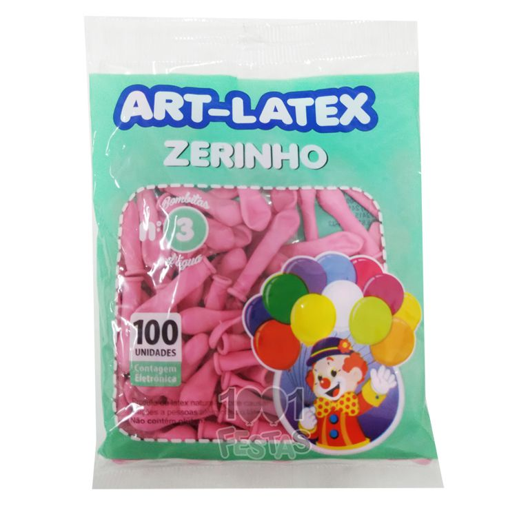 Balão Zerinho Rosa N03 100 unid Art Latex