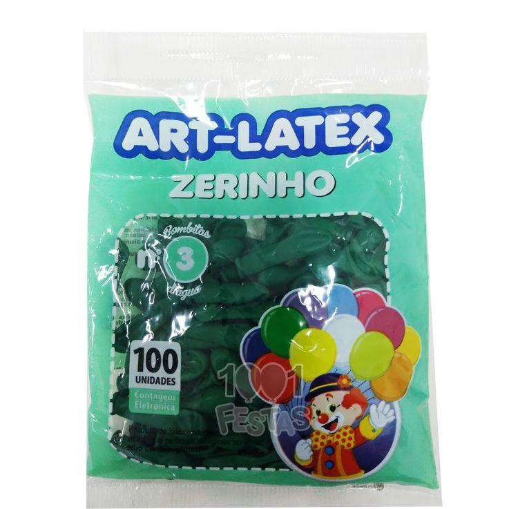 Balão Zerinho Verde N03 100 unid Art Latex