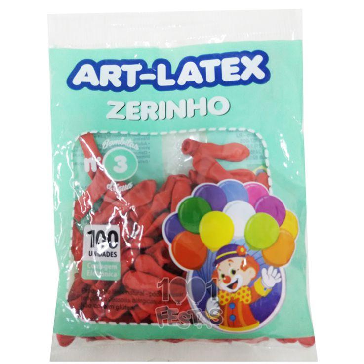 Balão Zerinho Vermelho N03 100 unid Art Latex