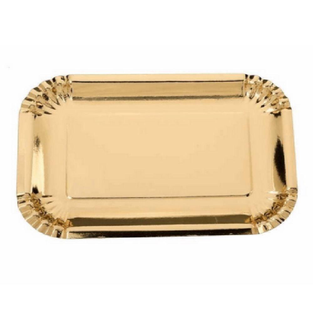 Bandeja Retangular Dourada 27x19cm c/5 unid. Silver Plastic