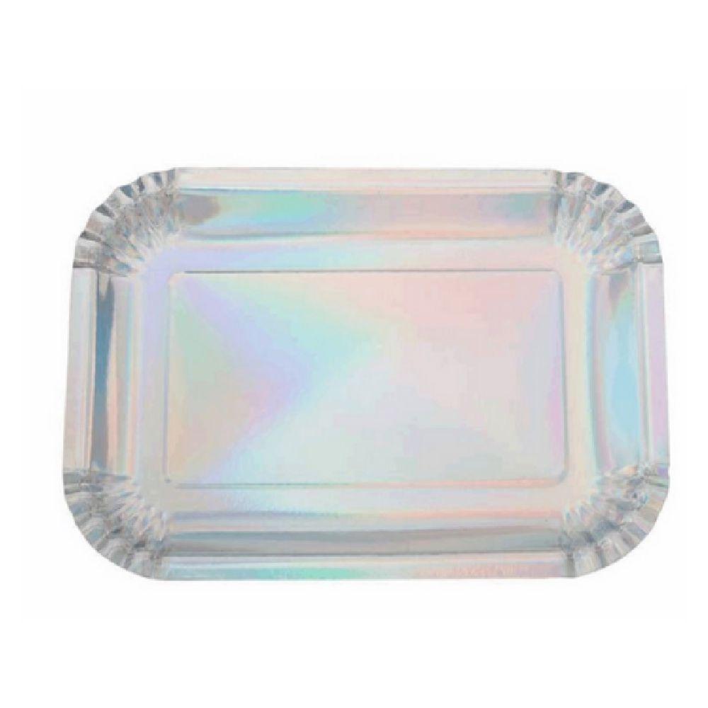 Bandeja Retangular Furta-Cor 27x19cm c/5 unid. Silver Plastic