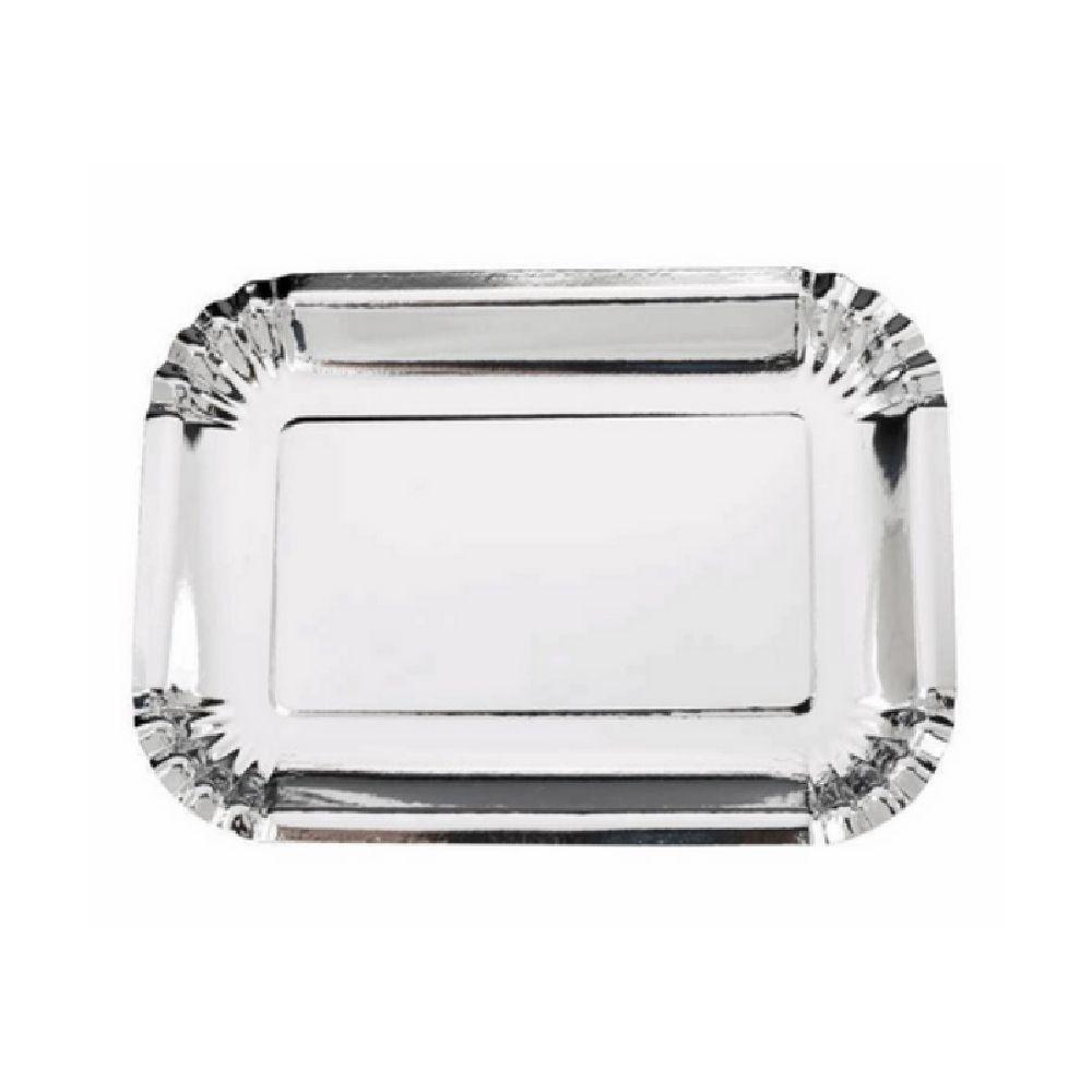 Bandeja Retangular Prata 27x19cm c/5 unid. Silver Plastic