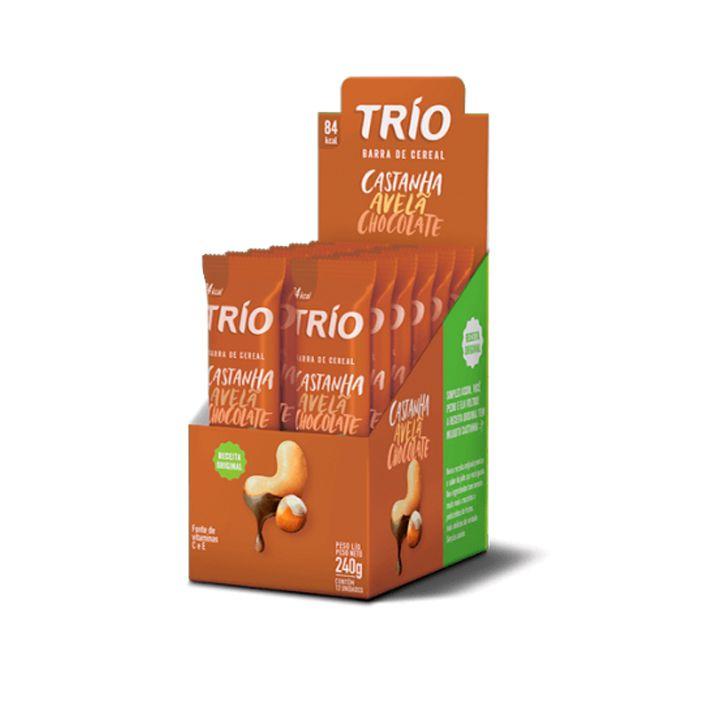 Barra de Cereal Castanha Avelã Chocolate 12 unid Trío