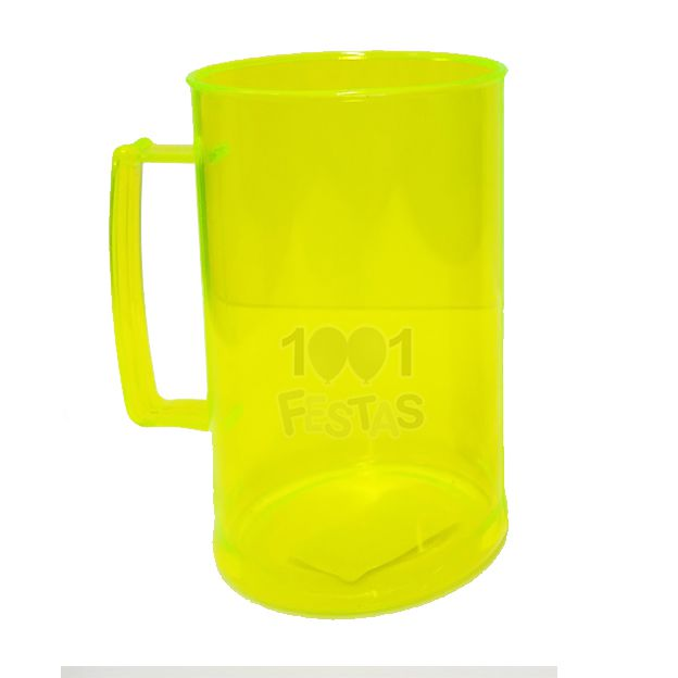 Caneca Chopp 300ml Amarelo Neon Translúcido