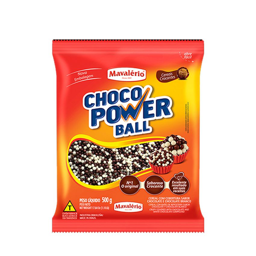 Cereal Drageado Micro ao Leite e Branco 500g Choco Power Ball