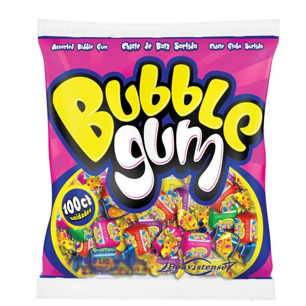Chicle Bublle Gum Sortido 300g  100 unid Boavistense