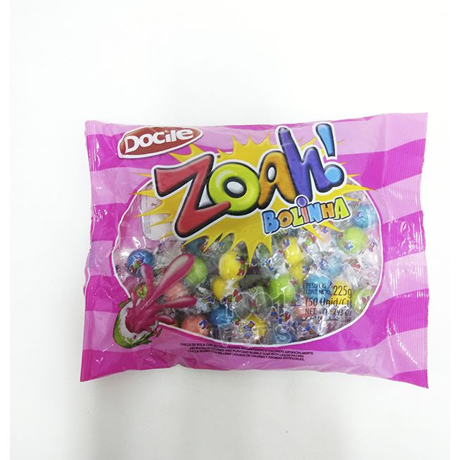 Chicle Zoah! Bolinha 225g 50 unid Docile