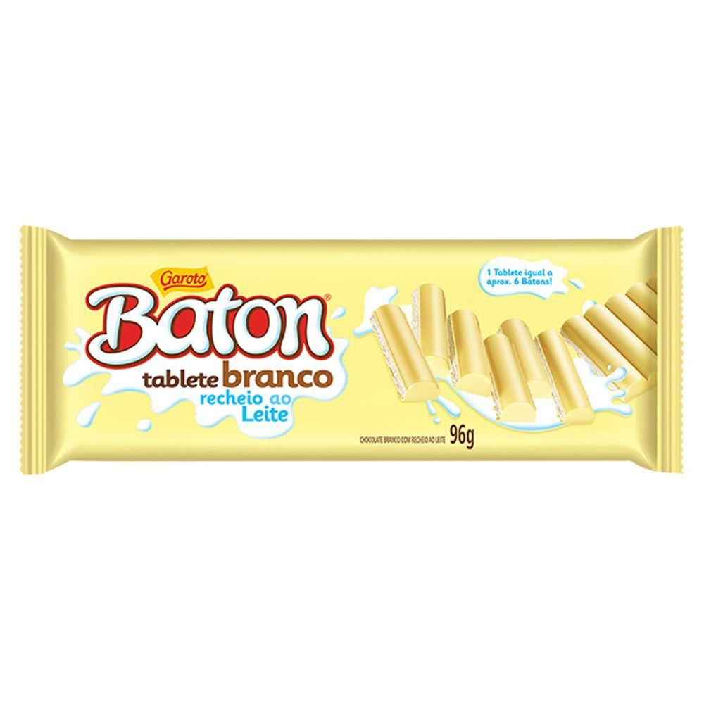 Chocolate Baton Tablete Branco Recheio Ao Leite 96g Garoto
