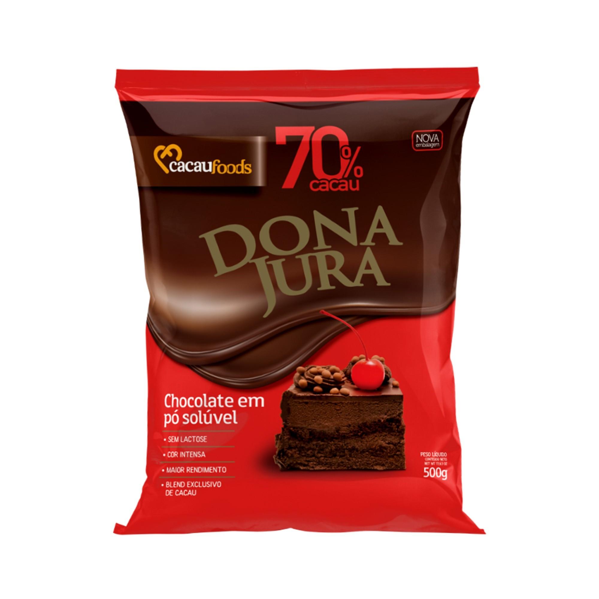Chocolate em Pó Solúvel 70% Cacau 500g Dona Jura