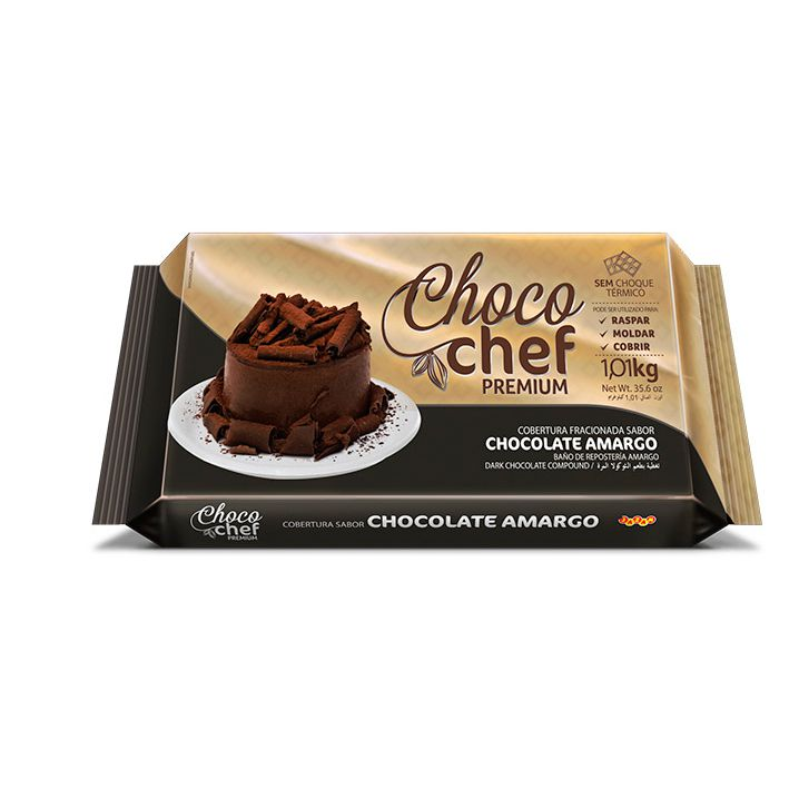 Cobertura Fracionada Chocolate Amargo 1,01Kg Choco Chef Premium