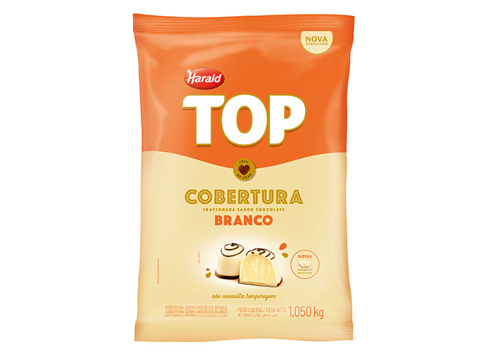 Cobertura Gotas Chocolate Branco 1.05 kg Harald Top