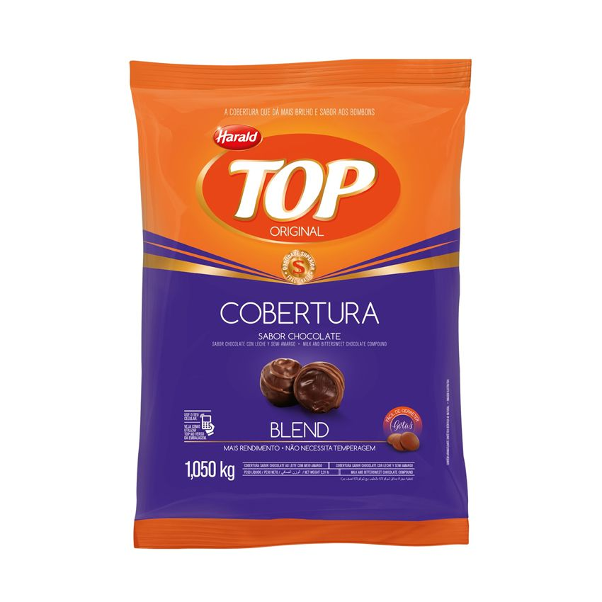 Cobertura Gotas Sabor Chocolate Blend 1,05kg Harald Top