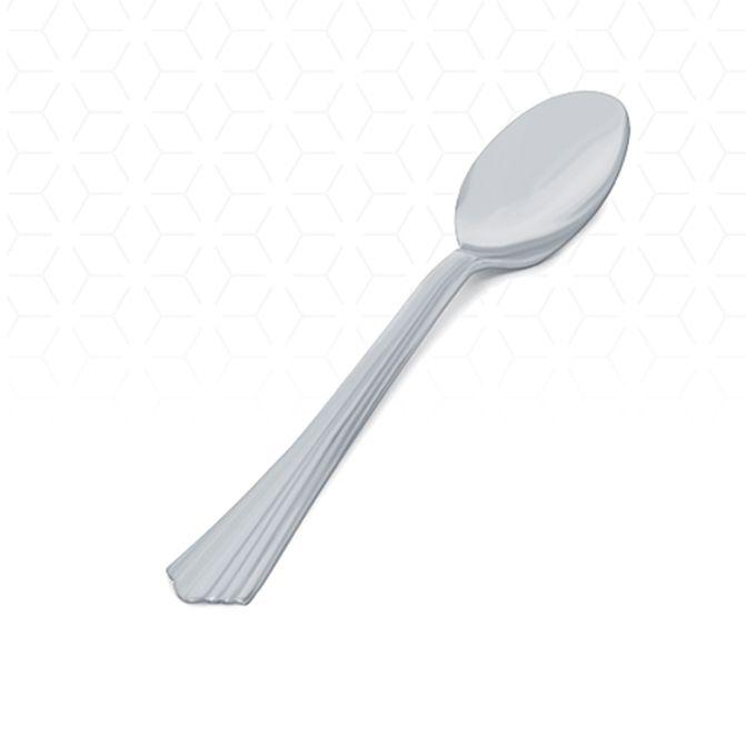 Colher Refeição Clássica Prata 10 unid Silver Plastic