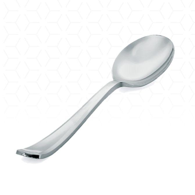 Colher Refeição Premium Prata  10 unid Silver Plastic